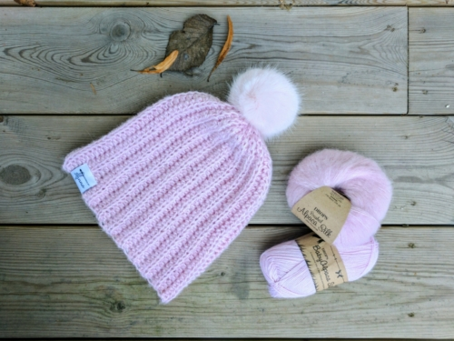 Strawberry Fluff Ribbed Hat